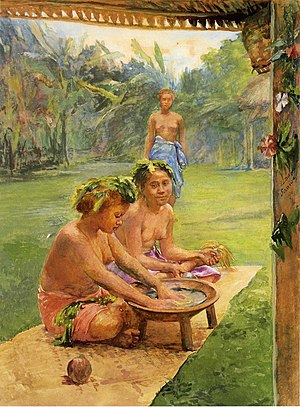 Kava - A painting showing women preparing kava