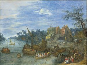 Joseph van Bredael - A river landscape with boats by a village