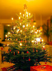 ต้นคริสต์มาสแบบเดนมาร์ก ประดับด้วยของตกแต่งคริสต์มาสทำเอง