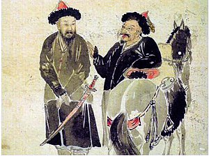 Later Jin invasion of Joseon - A Korean painting depicting two Jurchen warriors and their horses