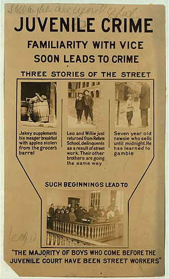 Youth incarceration in the United States - Juvenile crime poster, c. 1913