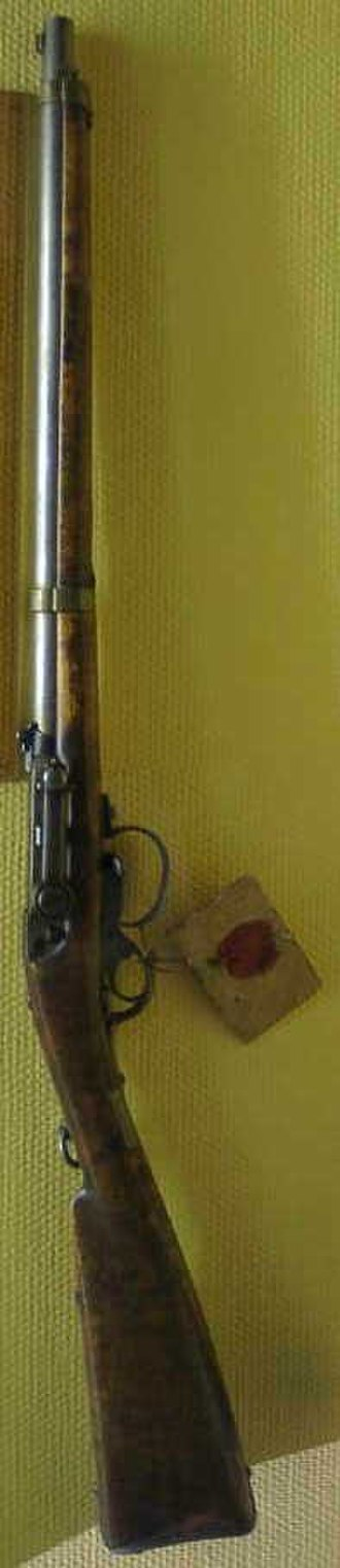 Kammerlader - Naval Kammerlader M1857, with serial number 1. The tag secured to the rifle is the official approval of the model. Note that this rifle has not been modified to the M1857/67 standard.