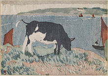 Colour print of a cow grazing by the waterside