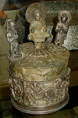 "The ""Kanishka casket,"" with the Buddha surrounded by Brahma and Indra, and Kanishka on the lower part, AD 127."