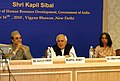 Kapil Sibal delivering the inaugural addressing at National Consultative Workshop on Establishment of the Mahatma Gandhi Institute of Education for Peace and Sustainable Development, in New Delhi on March 16, 2010.jpg