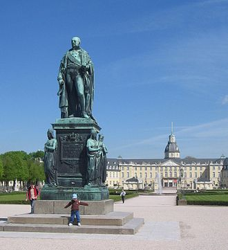 Charles Frederick, Grand Duke of Baden - Charles Frederick statue in front of the Karlsruhe Palace (Schloss)