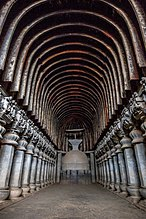 The Great Chaitya in the Karla Caves. The shrines were developed over the period from 2nd century BCE to the 5th century CE.