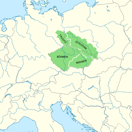 Lands of the Bohemian Crown since the reign of Holy Roman Emperor Charles IV Karte Bohmische Krone.png