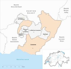 Karte von Lausanne