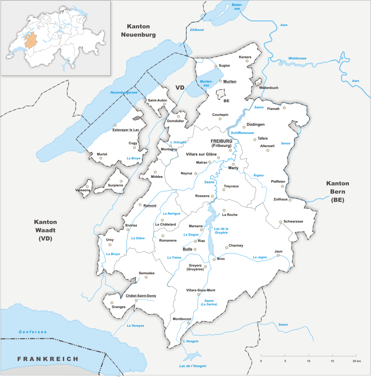 Freiburg Schweiz Karte.Canton Of Fribourg Wikipedia