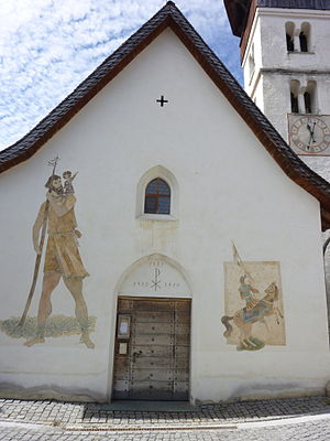 Alois Carigiet - Carigiet murals on the Catholic Church in Vella, Switzerland, depicting Saint Christopher and Saint Maurice (1940)