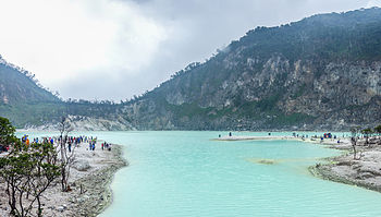 view of kawah putih from the crater floor