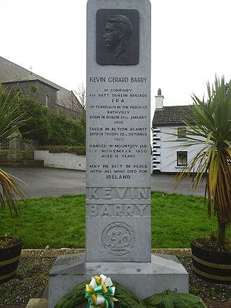 Timeline of the Irish War of Independence - Monument to Kevin Barry in Rathvilly, County Carlow. Barry was hanged on 1 November 1920, for his part in the killing of three British soldiers on 20 September 1920.