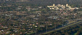 Kew, Victoria - Aerial view over northern residential parts of Kew looking southwest showing Studley Park (top); Kew Asylum (right) and Eastern Freeway Earl Street exit (bottom right)