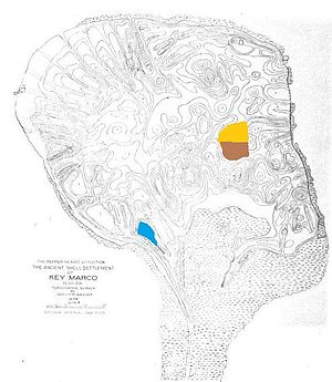 "Key Marco - Map of Key Marco, showing the pond known as the ""Court of the Pile Dwellers"" in blue, the Van Beck excavation of 1964 in gold, and the Widmer excavation of 1995 in brown."
