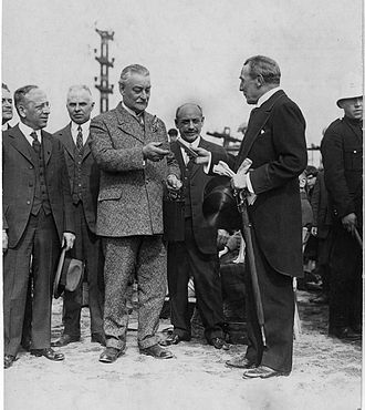 Charles Sandwith Campbell - F.E. Meredith (right), presents the keys for the new Campbell playground (formerly Sohmer Park) in the East End working class area of Montreal to Mayor Médéric Martin (left) in 1926.