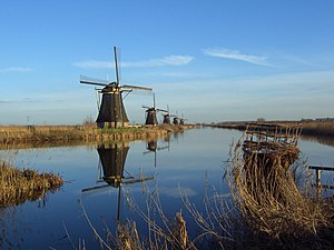Waterlogging (agriculture) - Antique Dutch windmills used to pump water into the embanked river to prevent waterlogging of the lowlands (polders) behind them.