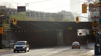 King Street (Toronto) - The King Street West Railway Subway, built in 1888, carries CN and GO Transit rail traffic above King Street West between Atlantic and Sudbury.