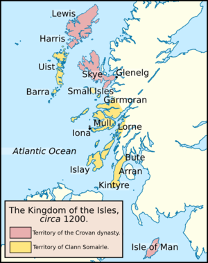 Crovan dynasty - The division between the lands of the Crovan dynasty and Clann Somhairle, in about 1200.