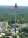 WindSeeker during testing, as seen from the park's 1/3 scale replica of the Eiffel Tower. Taken June 14, 2011.