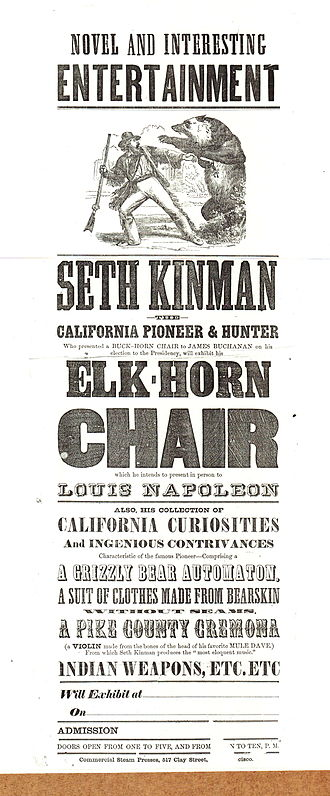 Seth Kinman - Advertisement used for exhibitions in 1861