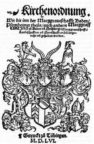 Charles II, Margrave of Baden-Durlach -  Cover of the Church Order of 1556