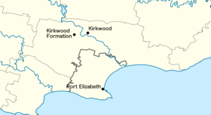 Kirkwood Formation - Map showing the location of the formation