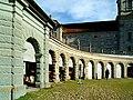 Kloster Einsiedeln.Arcade mit allegorischen Statuen von Engeln und historische Figuren..jpg
