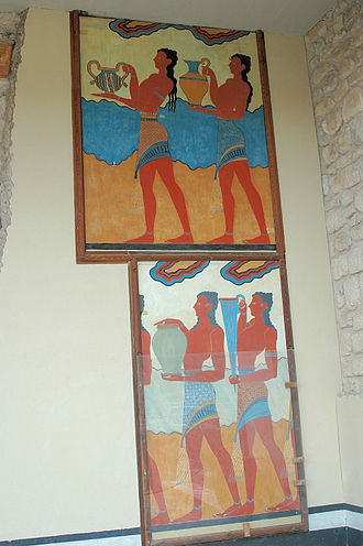 Minoan pottery - Restored frieze at Knossos showing Minoan ware. Although the rhyton (conical vase) is probably steatite, the other ware is most likely ceramic.