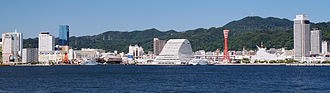 Japan's non-nuclear weapons policy - Nuclear-free Kobe Port, seen from Po-ai Shiosai Park in 2011