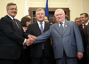 Bronisław Komorowski - President Bronisław Komorowski with two former presidents, Lech Wałęsa and Aleksander Kwaśniewski