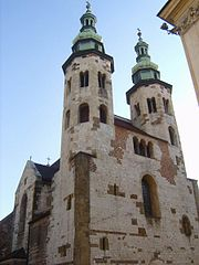 At St. Andrew's Church, Kraków, the paired towers are octagonal in plan and have domes of the Baroque period.