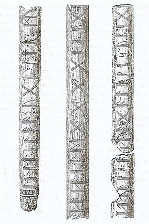 Kragehul I - The Kragehul lance shaft. Drawn by Stephens in 1884.