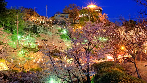 Kurashki city at night during Hanami (Sakura blooming season). Okayama Prefecture. Japan-2