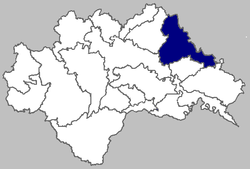 Map of Kutina municipality within Sisak-Moslavina County