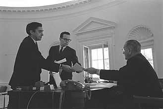 Richard N. Goodwin - Goodwin in 1965 (left), with Bill Moyers and President Johnson in the Oval Office.