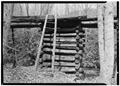 LOG SUPPORTS FOR OVERHEAD SLUCE WAY, FEEDING WATER TO MILL - Mingus Flour Mill, Gatlinburg, Sevier County, TN HAER TENN,78-GAT,2-5.tif