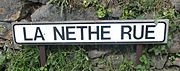 La Nethe Rue road sign Jersey