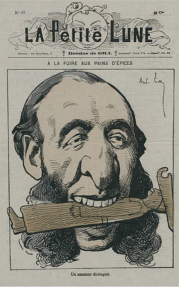 Andre Gill's cartoon on Ferry, where he eats a gingerbread priest (1878) La Petite Lune - 42.jpg