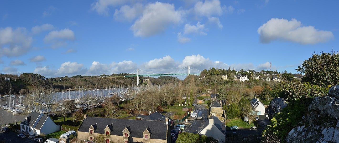 The marina and the bridge as seen from the Rocher, La Roche-Bernard, Morbihan, France.