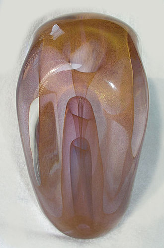 "Dominick Labino - Labino called this particular vase ""Break-Through Gold Veilings"" from the Emergence Series. This vase is from the Smithsonian Institution's Renwick Gallery 1980 exhibit of Dominick Labino, along with other leaders of the Studio Art Glass Movement in the U.S. This vase is in a private collection in New York City."