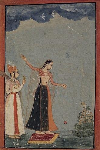 Yo-yo - Lady with a yo-yo, Northern India (Rajasthan, Bundi or Kota), c. 1770 Opaque watercolor and gold on paper