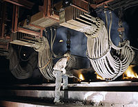 Large electric phosphate smelting furnace used in the making of elemental phosphorus in a TVA chemical plant in the Muscle Shoals area, Alabama.jpg