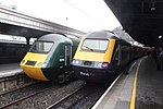 Last day of GWR HSTs - all together at Paddington 43198 and 43009.JPG