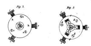 John Isaac Hawkins - Improved lathe chuck, drawing from an 1808 article by Hawkins.