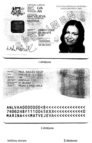"Non-citizens (Latvia) - Latvian ""Alien's Identity Card"", official sample"
