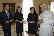 Laura and Barbara Bush meet Pope Benedict XVI.jpg