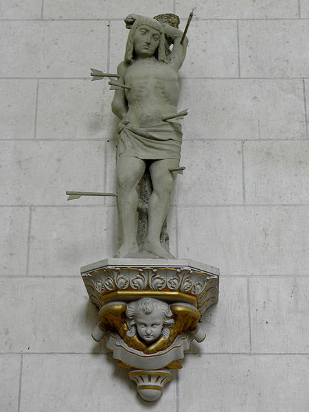 Église Saint-Martin de Le Pas (53). Statue de Saint-Sébastien.