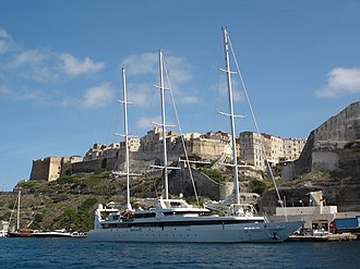 MY Le Ponant - Alongside in Bonifacio