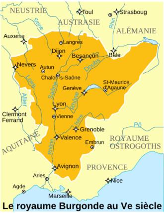 Bourgogne-Franche-Comté - Image: Le royaume Burgonde au Ve siècle